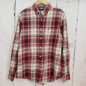 Nautica Large Red plaid casual button down